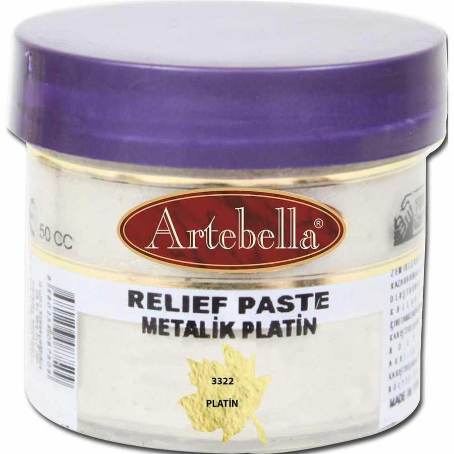 332250 artebella rolyef pasta metalik platin 50 cc 606545 15 B -Artebella Art & Craft Hobi ve Sanat Ürünleri
