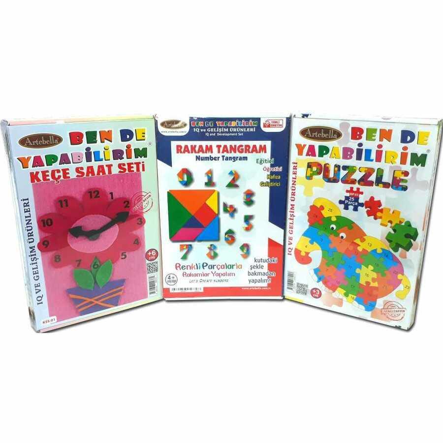 kmps0004 artebella ben de yapabilirim kece puzzle rakam tangram seti 603031 15 B -Artebella Art & Craft Hobi ve Sanat Ürünleri